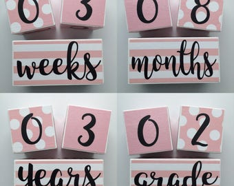 Baby Age Blocks Monthly Blocks Baby Boy Girl Baby Shower Gift Newborn Photo Prop Age Cubes Photography Nursery Babies Custom Personalized