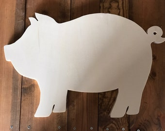 Pig Wood Cutout, Naked, Unfinished