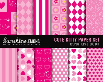 Cute Kitty Digital Paper Pack - Set of 12 Papers - COMMERCIAL USE Read Terms Below