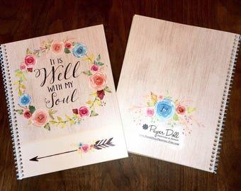 Scripture Prayer Journaling, Scripture Journaling, Journal, Christian gift, Personalized Scripture Journal, **Blue & Pink Wreath**