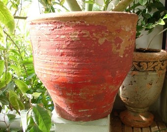 antique Greek, clay terracotta, heavy planter pot, old painted garden plant pot-shabby chic
