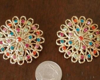 Tara Multi Colored Rhinestone  Gold Tone Filigree Clip On Earrings