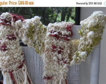 CLEANING SHOP 33% OFF Sale Bulky Hand Knit Scarf made of Super Soft Handspun Hand Dyed Yarn with sparkle