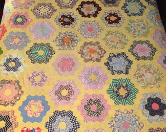 SALE 20% Off All QUILT TOPS. Vintage Colorful Grandmother's Flower Garden Hexies pattern Feed Sack 83x86 Hand Stitched. All proceeds donated