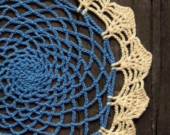Circle blue and yellow Crochet doily, vintage round Doily, Table decor, crochet centerpiece, Cotton Lace Doily