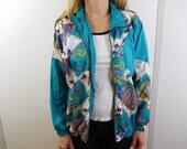 Vintage Funky Fish Ocean Sea Life Themed Windbreaker Jacket Size Petite Medium M *Broken Zipper*