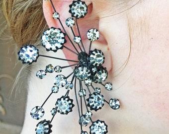 Vintage Schreiner  huge japanned Earring climbers runway statement earrings