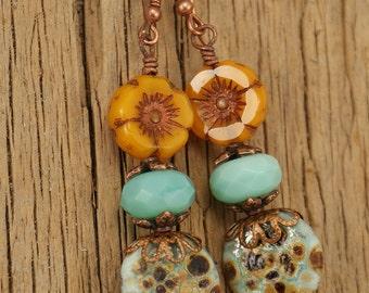 Perfect Pansies--Etched Aqua Lampwork Leaves and Orange Pansies Earrings   663