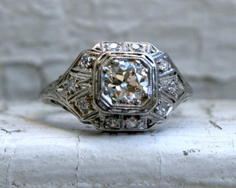 Vintage Filigree Platinum Diamond Ring Engagement Ring - 0.90ct.