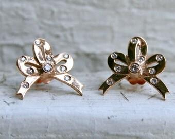 Sweet Vintage 18K Rose Gold Diamond 'Bow' Stud Earrings.
