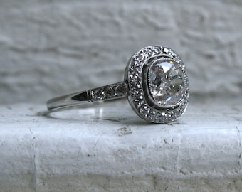 Stunning Vintage Platinum Cushion Cut Halo Diamond Engagement Ring - 1.75ct.