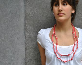 Textile necklace / Knotted necklace / Coral Necklace / For her / Cotton  jersey jewelry / Summer fashion / Textile jewelry by Aliquid