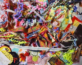 500g 1.1lb Remnants Destash Vintage Fabric Trim Lace Scrap Lot for crazy quilt
