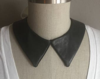 Black Leather Pointed Collar Necklace with Adjustable Ivory Bow Closure