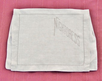 Antique embroidered linen nightgown pouch, nightdress case made from ecru linen