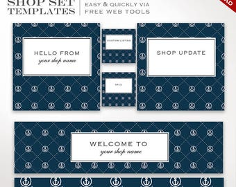 Etsy Banner Set - Nautical DIY Shop Banner Template Set - Editable Etsy Cover Etsy Shop Set Banner Etsy Banner Template ETSS AAC