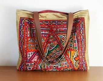 OOAK antique fabric tote bag, colourful beach bag, mirrored Indian tapestry, leather handles, market bag, everyday bag. Ready to ship