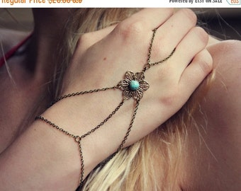 HOLIDAY SALE filigree flower slave bracelet with turquoise cabochon, bracelet ring, slave ring, flower ring, boho bracelet, ring bracelet