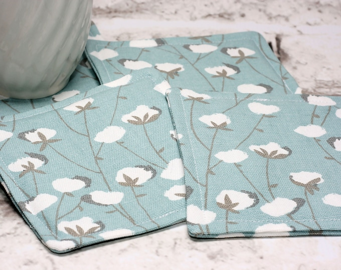 Featured listing image: Cotton Print Coasters, Set of 4