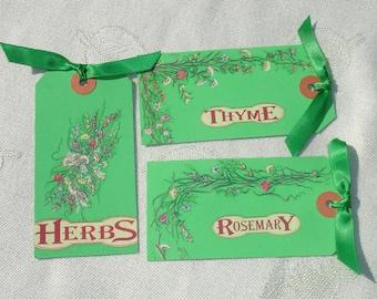 Herb Garden Hang Gift Tags - Handmade by Harmonee's Creations