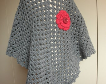 Grey Baby poncho hand crocheted granny poncho,super warm size 6-8 years