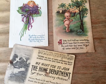Three Vintage Postcards, Beautifully Illustrated, Very Old, 1913, Kewpie Doll, Bouquet