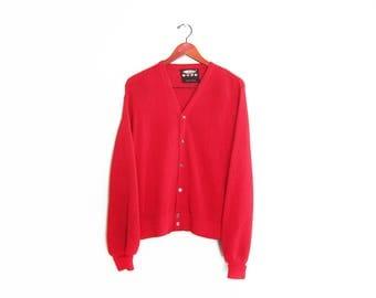 vintage cardigan / grandpa cardigan / grunge / 1960s cherry red alpaca knit grunge cardigan Small