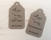 Will You Be My Groomsman? - Will You Be My Best Man? - Gift Tags - Wedding Party Tags - Bridal Party Tags - Tags & Twine - Rustic Gift Tag