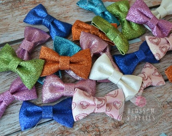 CLEARANCE GRAB BAG - 20 Glitter Bows Mixture of Colors -  diy Bow Headband - Holiday Wedding Bridal Bows - Sparkle Shimmery Wholesale