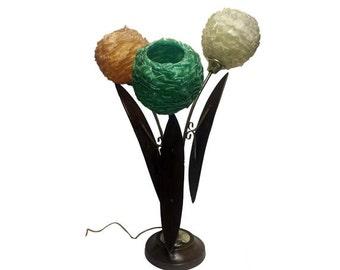 Vintage Glass Spun Ribbon Lamp - Mid Century Modern Spaghetti Table Lamp, Lucite Teak Walnut Danish Modern Lamp, Mulit Color Atomic Ranch