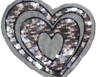 Sequined Heart Sew On Patch, Black Mesh Heart Applique