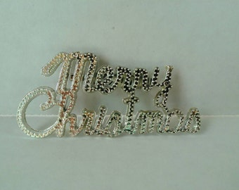 Retro brooch Merry Christmas silver plastic vintage inspired sweater pin kitchy nostalgic holiday accessory