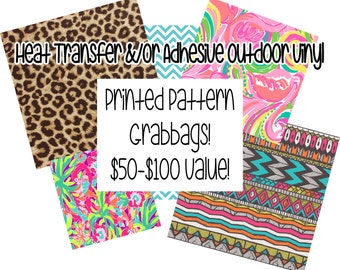 Heat Transfer (HTV, Iron On) AND/OR Adhesive Outdoor Vinyl GrabBags! 75% Off Retail! You Choose Material, Random Patterns!