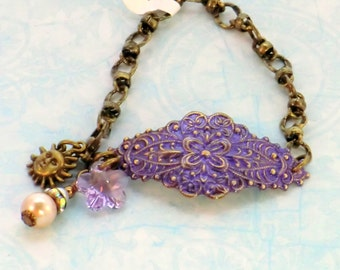 Purple and lavender boho antique brass cuff bracelet, hand painted lavender and violet charm pearl rhinestone cuff, vintage style, gifts