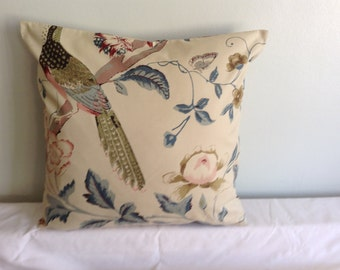 "16"" modern beige bird, flowered cushion cover, pillow, pillow case, scatter cushion. Pillow sham"