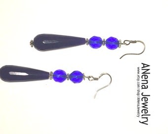 Blue Magic Earrings: Blue faceted Crystal rounds and tear drop, dangle By ANena Jewelry