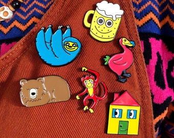 Three Enamel Pins Mix & Match - Bear Pin, Dodo Pin, House Pin, Sloth Pin, Beer Pin, Monkey Pin, Cute Enamel Pins,Soft Enamel Lapel Pin Badge