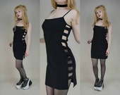 90s Goth Clubkid Black Cut Out Sides Strappy Mini Dress S / M