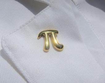 Gold Pi Lapel Pin- CC295G- Math Pins for Mathematicians, Math Teachers, Nerds, Geeks, Pi Day