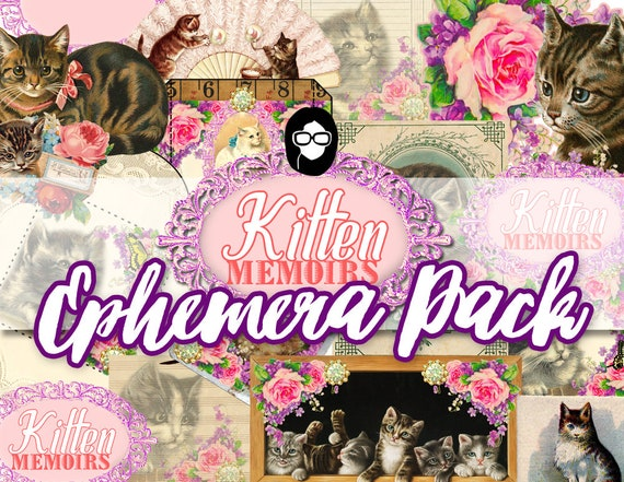 Ephemera Paper Pack - Kitten Memoirs Ephemera Pack - 4 Pg Instant Download - blank journal cards, digital journal kits, roses clipart floral
