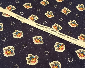 Floral bouquet and pin dots cotton fabric in dark blue, made in Japan, floral fabric, patchwork, quilting, sewing, fat quarter