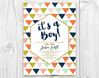 Tribal Baby Shower Invitation - Aztec Baby Shower Invitation - Boho Baby Shower Invitation - geometric baby shower boy invitation, triangles