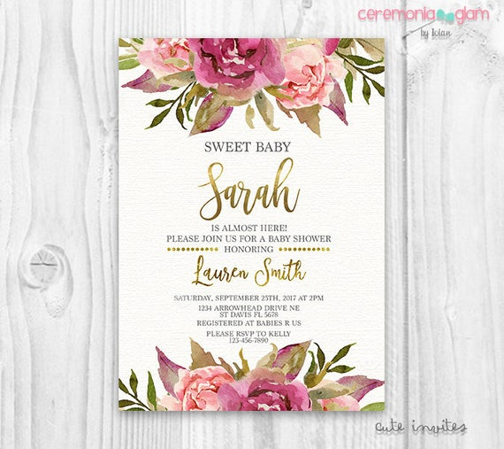 floral baby shower invitation burgundy and pink watercolor flowers