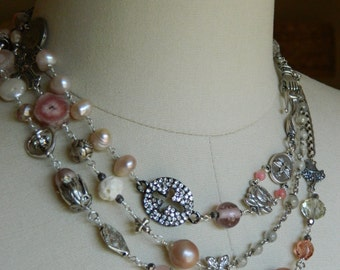 ROSALINE TRIPLE WRAP vintage assemblage double necklace french handmade one of a kind repurposed pendant  rose  quartz atelier paris on etsy