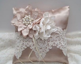 Stunning Champagne Satin Ring Bearer Pillow with Handmade Champagne and Ivory Flowers Beaded Lace and Pearl Rhinestone Accents