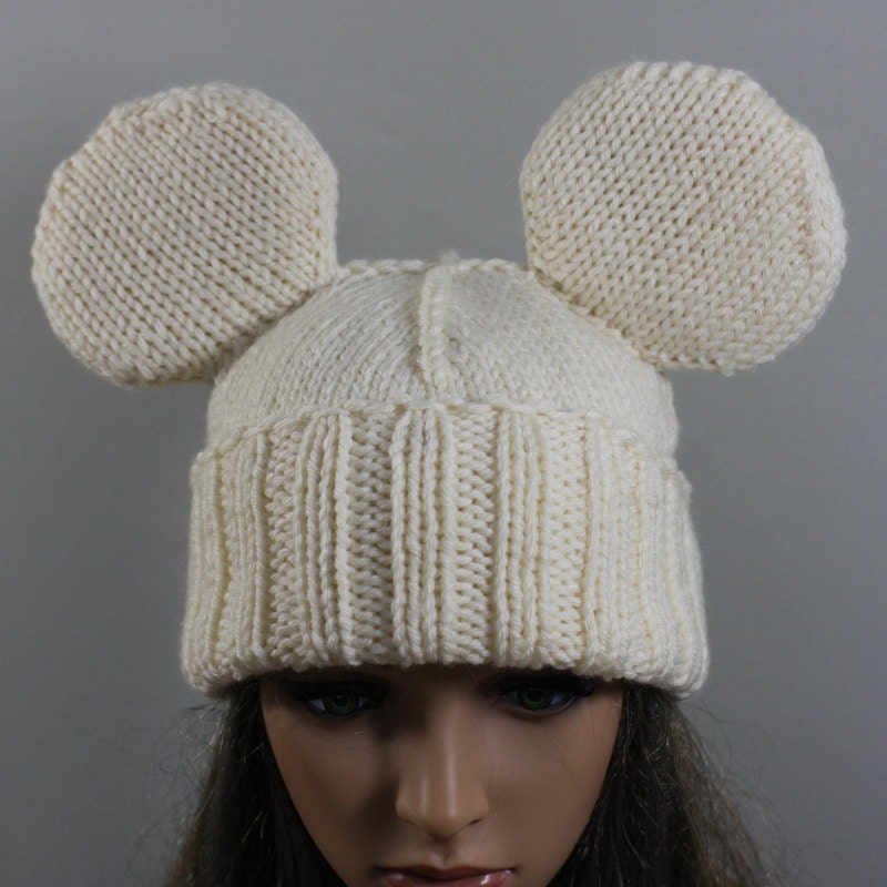 Knitting Pattern Mouse Hat : Hand knitted unisex Mickey Mouse hat. This