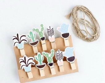 10pcs Wooden Plants Clips Wooden Pegs Clips Peg Clips