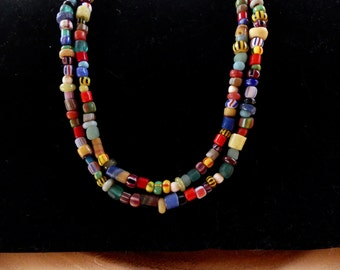 26 Inch Multi Colored Double Strand African Trade Christmas Bead Necklace with Earrings