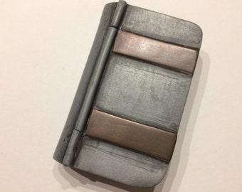 Vintage Pewter and Copper Match Safe Book Scotland