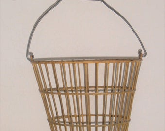 Antique Vintage Wire Egg Basket - Yellow